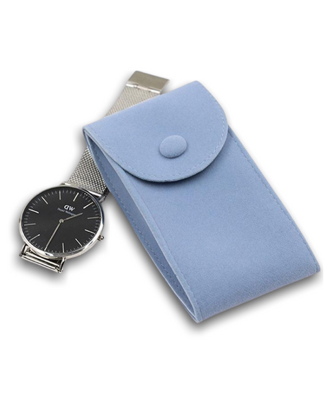 Travel Friendly Flannel Watch Carry Pouch - Blue - Treasure Nexus