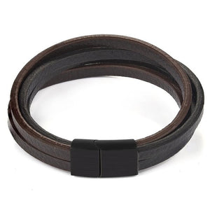 Janus Multi-Layer Leather Strand Bracelet