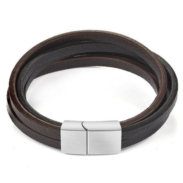 Invidia Multi-Layer Leather Strand Bracelet - Zeus