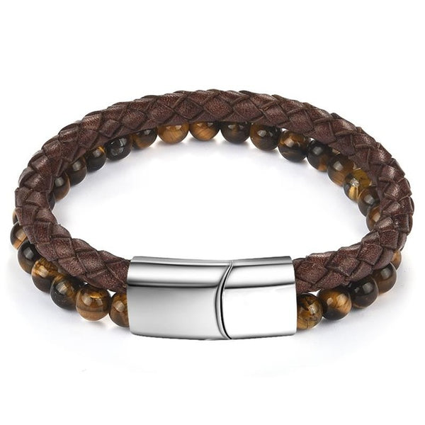 Titus Natural Stone Braided Leather Bracelet - Treasure Nexus