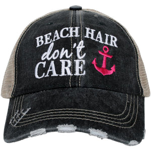 Beach Hair Don't Care with Anchor Trucker Hat