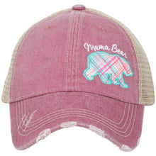 """Mama Bear"" Pastel Plaid Trucker Hat"