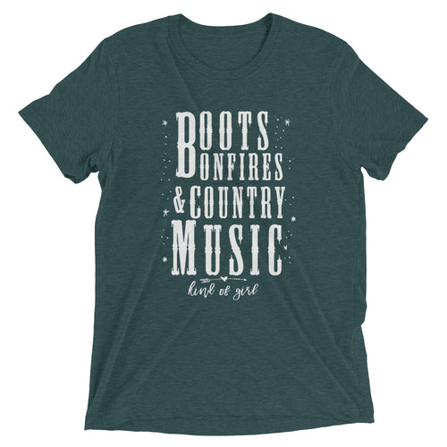 Boots, Bonfires and Country Music Unisex Tee