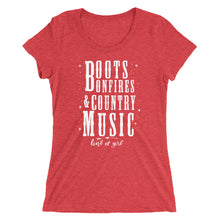 Boots, Bonfires, and Country Music Women's Tee