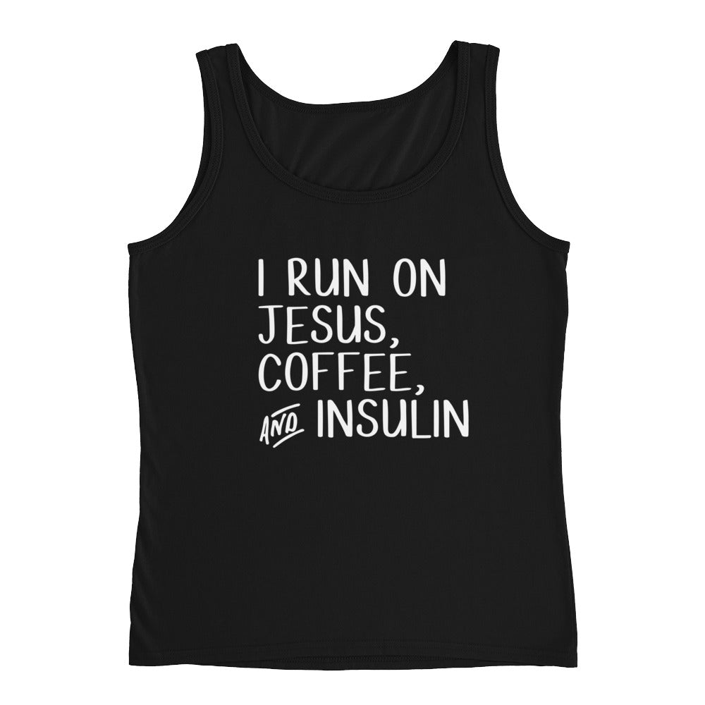 Jesus, Coffee, and Insulin Ladies' Tank