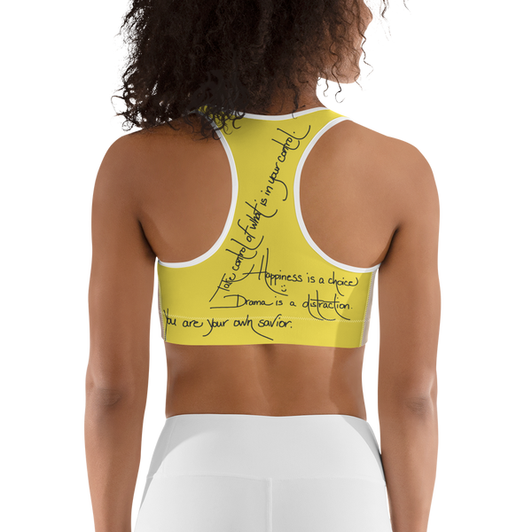"""you are here NOW"" Sports Bra"