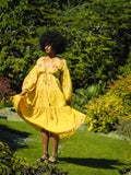 Gypsophila Long Midi Dress - Vintage Indian Cotton - Sunshine Yellow Floral
