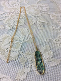 Jewellery & Accessories - Abalone shell leaf pendant - vintage clothing Brighton