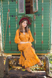 Lunar Maxi Dress - Vintage Indian Cotton - Turmeric Gold & Black Polka Patchwork