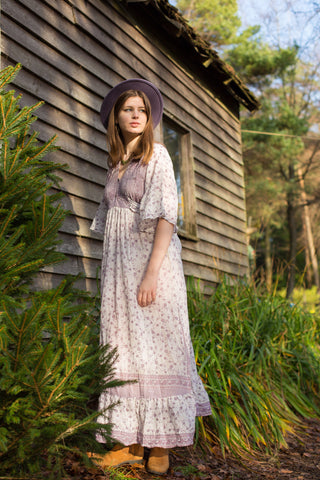 Lunar Maxi Dress - Vintage Indian Cotton - Ivory & Soft Mauve Delicate Floral