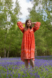 Coral Orange/Red Peacock Midi Smock Dress - Size S/M
