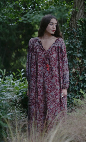 Zara Midi Smock Dress - Maroon Olive & Blush Floral Indian Cotton - Free Size