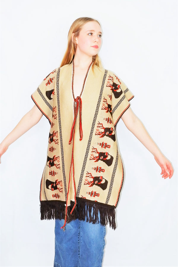 70's Vintage - Mexican Reindeer Shawl/Poncho - Free Size