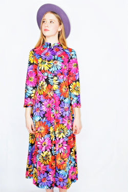 70's Vintage Dress - Colourful Daisy Tunic Maxi - Size XS/S