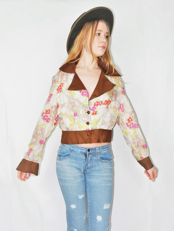 Vintage Top - Pearl, Wildflower & Tawny Cropped Blouse - Size M