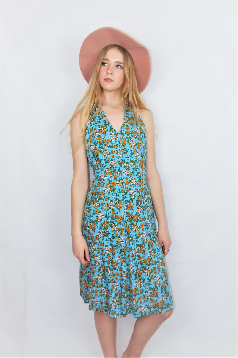 70's Vintage - Sky Blue Wildflower Strappy Sundress - Size S
