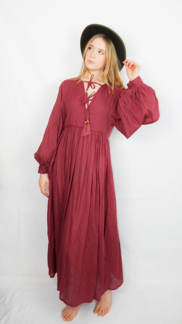 Primrose Dress - Block Colour Indian Cotton - Purple Sangria - M/L