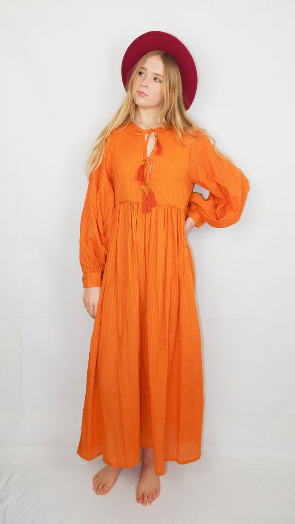 Primrose Dress - Block Colour Indian Cotton - Antique Amber - M/L