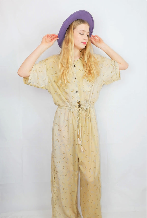 Billie Jumpsuit - Vintage Indian Sari - Pale Daffodil & Duck Egg Petals - XL