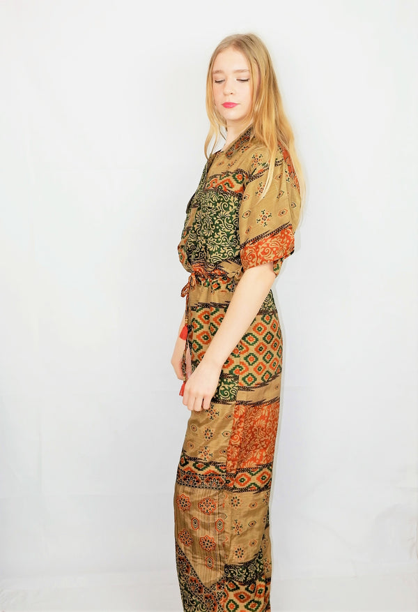 Billie Jumpsuit - Vintage Indian Sari - Olive & Burnt Orange Patchwork - M/L