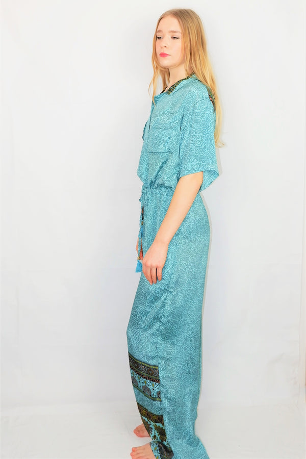 Billie Jumpsuit - Vintage Indian Sari - Icy Blue Floral Tiles - M/L