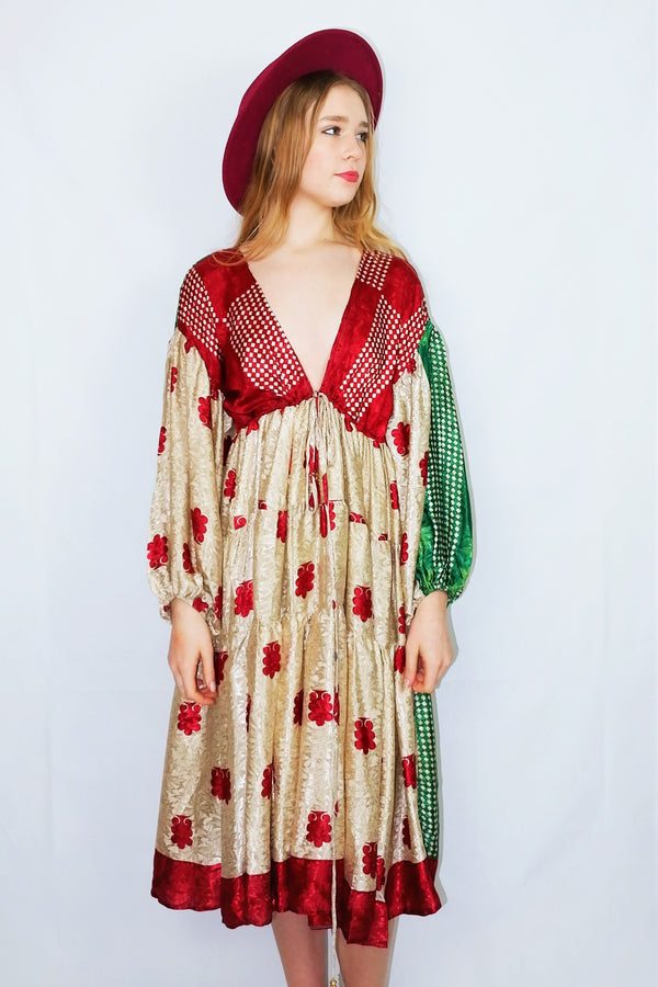Gypsophila Midi Dress - Vintage Indian Sari - Sandy Gold, Crimson & Green Jacquard  - Free Size