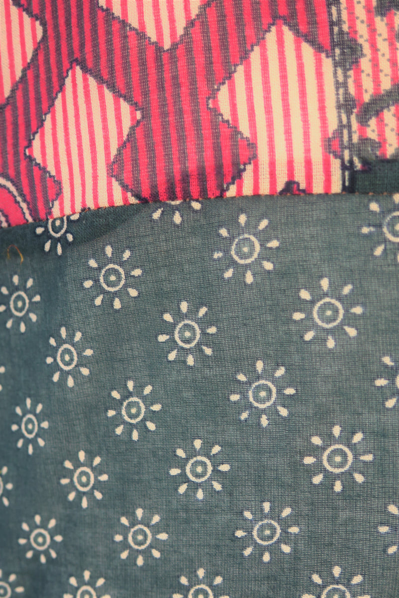 Goddess Dress - Vintage Indian Cotton - Graphite & Bright Pink Floral - Free Size