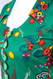Vintage Fitted Shirt - Jade Green Floral Print - Size XS