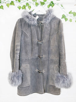 Vintage Suede Winter Coat - Pewter Grey - Size S/M