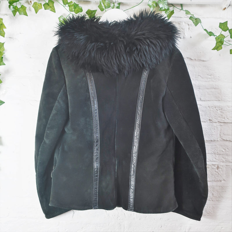 Vintage Sheepskin Coat - Charcoal Black - Size S/M