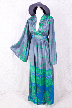 Stevie Maxi Dress - Vintage Indian Sari - Stone Blue & Green Floral - S/M