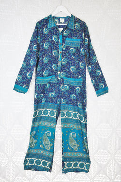 Boilersuit - Indian Sari - Sky, Cream & Navy Floral Paisley - Size S/M
