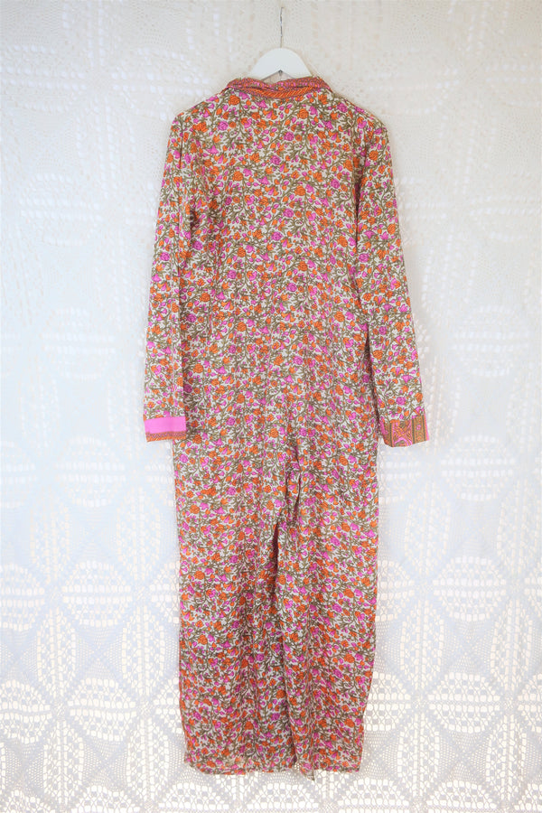 Boilersuit - Indian Sari - Fuchsia, Tiger & Moss Floral - Size S/M