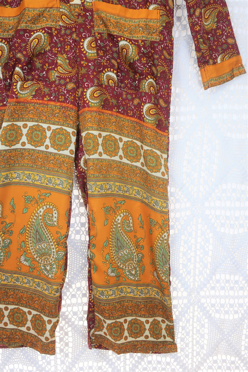 Boilersuit - Indian Sari - Scarlet, Sunset & Cream Floral Paisley - Size S/M
