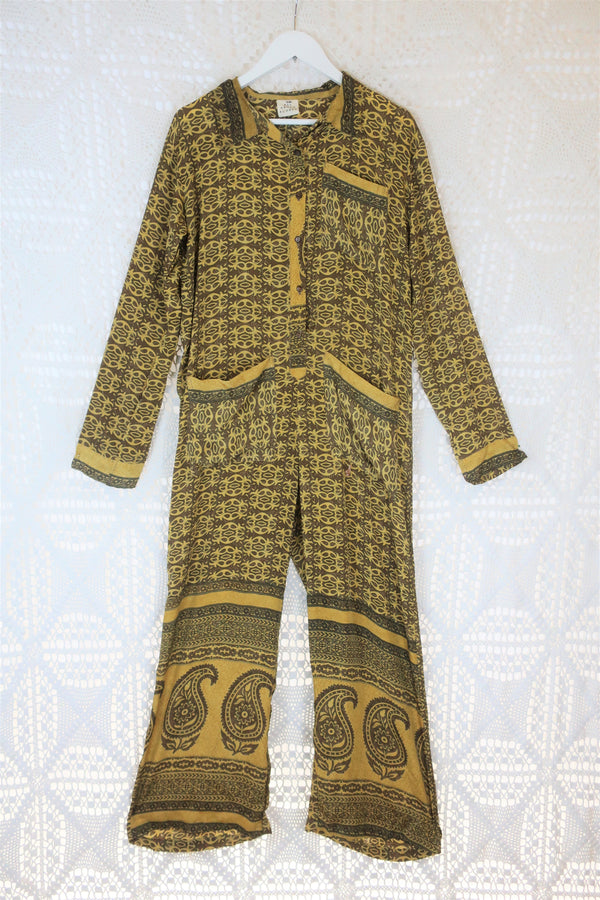 Boilersuit - Indian Sari - Daffodil & Walnut Paisley - Size S/M