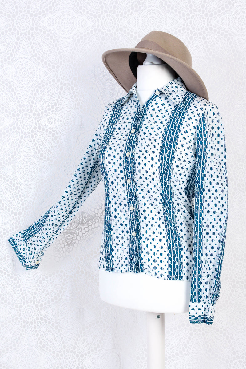 Vintage Long Sleeve Shirt - Blue & White Graphic - Size S/M