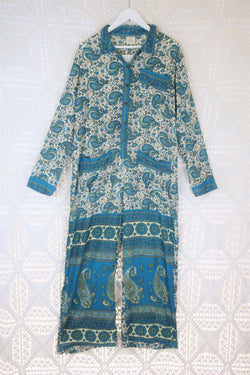 Boilersuit - Indian Sari - Cream & Prussian Blue Paisley - Size M/L