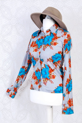 Vintage Long Sleeve Shirt - Pale Grey with Blue & Orange Floral - Size XS