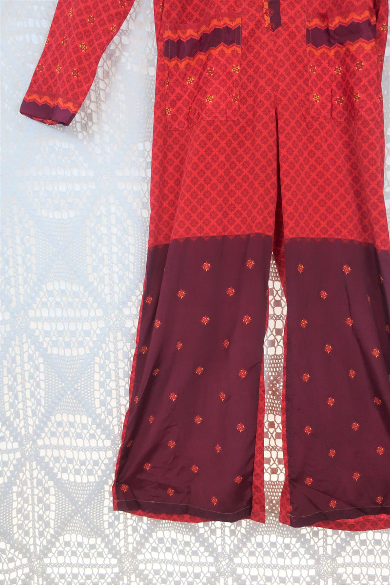 Boilersuit - Indian Sari - Fiery Red & Plum - Size M/L