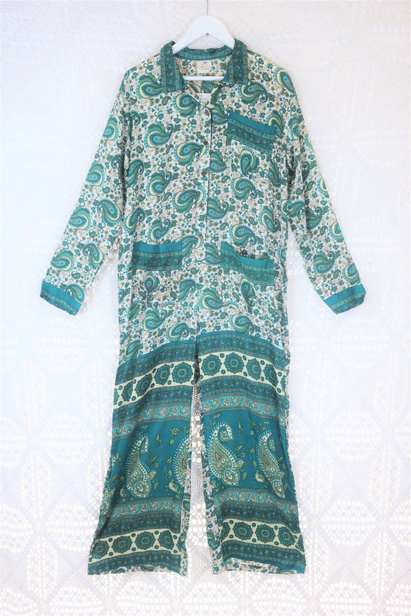 Boilersuit - Indian Sari - Cream & Teal Paisley w/ Dark Collar - Size M/L