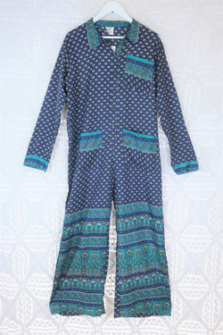 Boilersuit - Indian Sari - Navy & Teal Floral Paisley - Size M/L