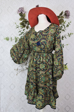 Poppy Mini Smock Dress - Vintage Sari - Navy, Gold & Emerald Paisley - M/L