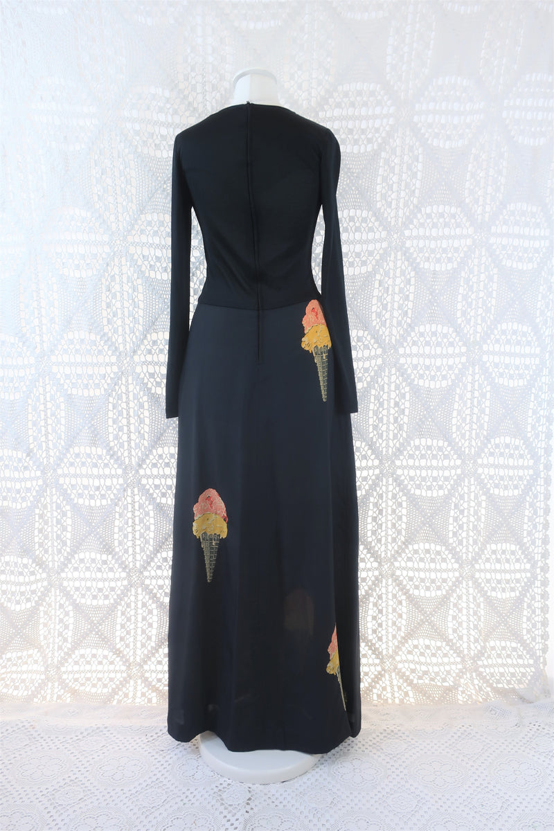 Vintage Dress - Charcoal Ice Cream Cone Print Maxi - Size XS