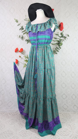 Esmerelda Maxi Dress - Vintage Sari Silk Mix - Sea Green & Violet Floral