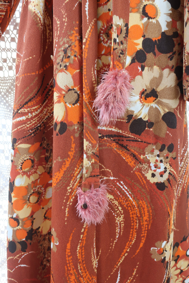 70's Vintage Dress - Russet Floral Housecoat - Size M