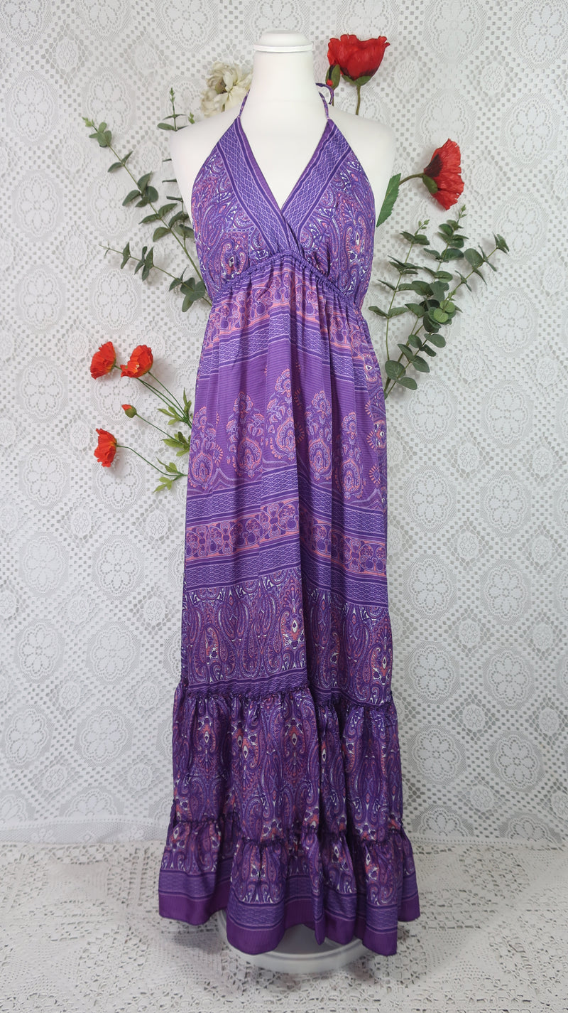 Cherry Halter-Neck Maxi Dress - Purple & Violet Paisley Floral Sari (XS - S/M)