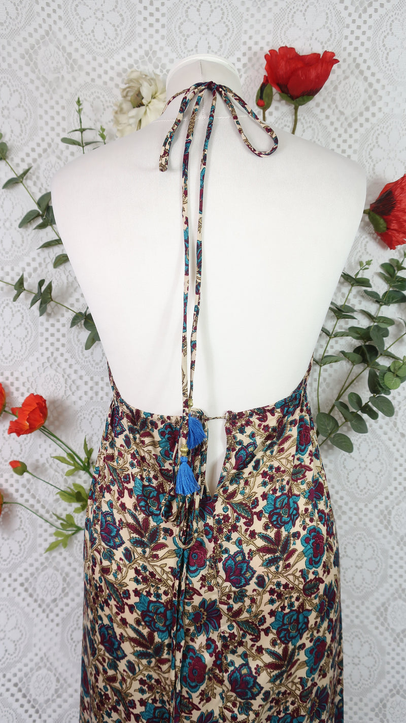 Cherry Halter-Neck Maxi Dress - Cream, Teal & Burgundy Floral Sari (XS - S/M)