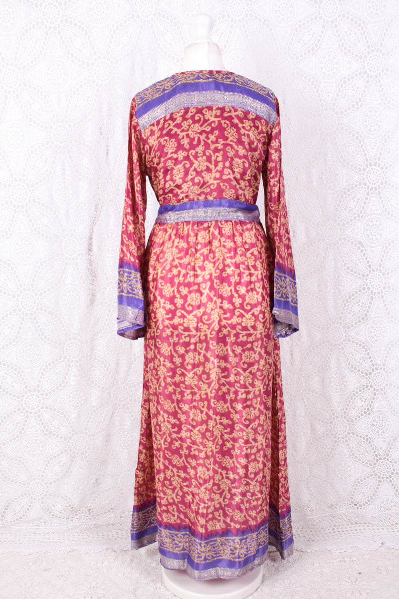 Lily Maxi Dress - Strawberry & Violet Vintage Sari - Size S/M