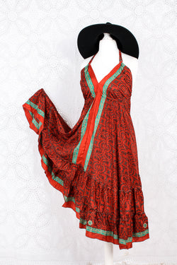 Blossom Mini Halter Dress - Vintage Indian Sari - Scarlet & Slate Paisley - S/M
