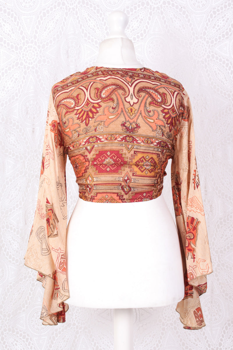 Gemini Wrap Top - Vintage Indian Silk & Cotton - Tan, Coral & Wine - S/M